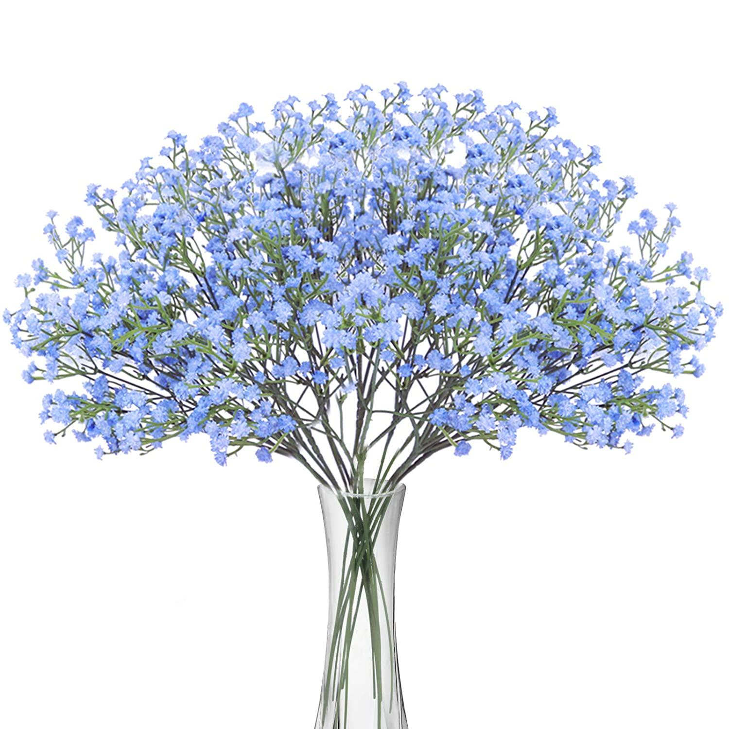 BOMAROLAN Artificial Baby Breath Flowers Fake Gypsophila Bouquets 12 Pcs Fake Real Touch Flowers for Wedding Decor DIY Home Party(Blue)