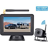 HD 1080P Digital Wireless Backup Camera System for RVs/Trucks/Trailers/Motorhomes with 5''Monitor Rear View System Super Night Vision IP 69K Waterproof DIY Guide Lines Continuous/Reverse Use