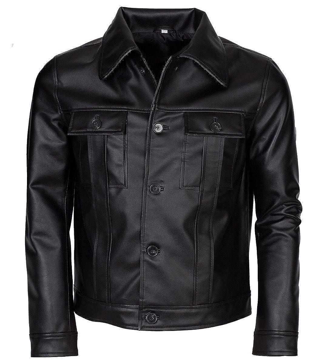 Feather Skin Elvis Presley Inspired Black Rockstar Genuine Leather Jacket