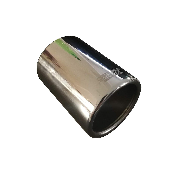 CARTUNER/® Auspuffblende Endrohr oval 2 x 80x70mm Edelstahl in Sportauspuff Optik Absorber 38-55mm