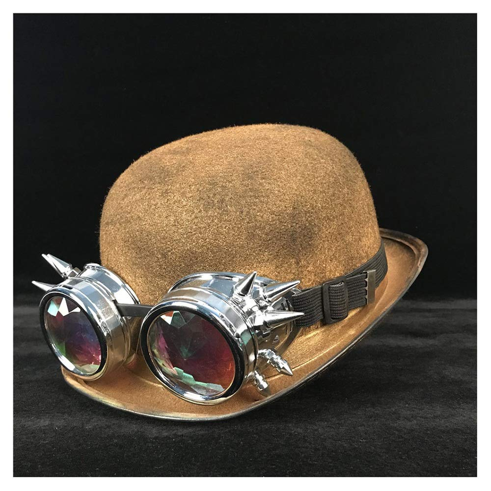MUMUWU Retro Women Men Unisex Steampunk Bowler Hat with Steam Punk Glasses Topper Top Hats Dome Billycock Groom Hat (Color : Gold BLY, Size : 57-58CM)