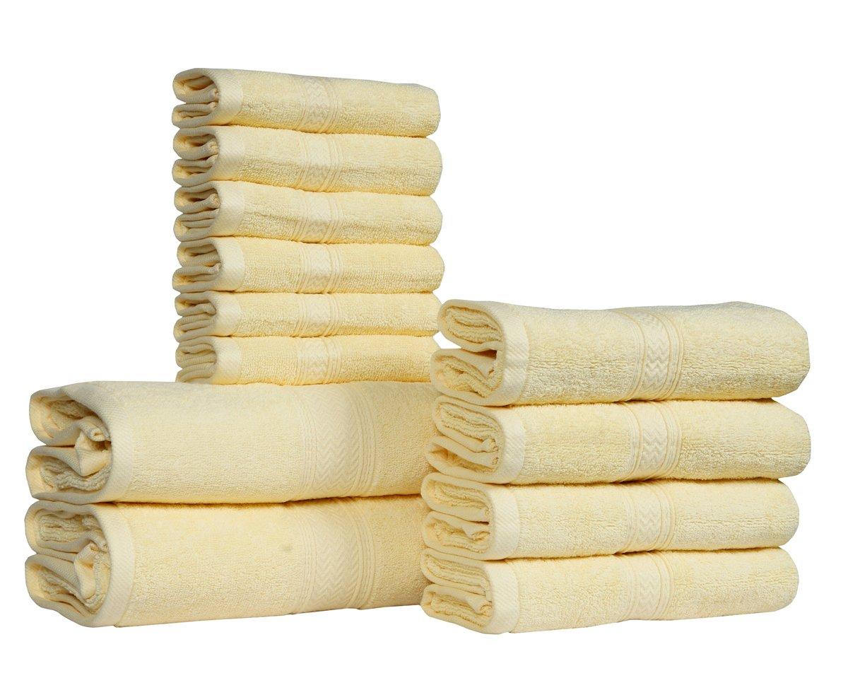12 PIECE- 600 GSM Ivory Cotton Bath Towels Set - Hotel Spa Towels Set- 2 Bath Towels, 4 Hand Towels, 6 Washcloths-Super Absorbent Soft Cotton Towel set- Hotel Spa Ivory Towel set-100% Cotton Towel Set HILLFAIR 600GSM-12PC-IVORY