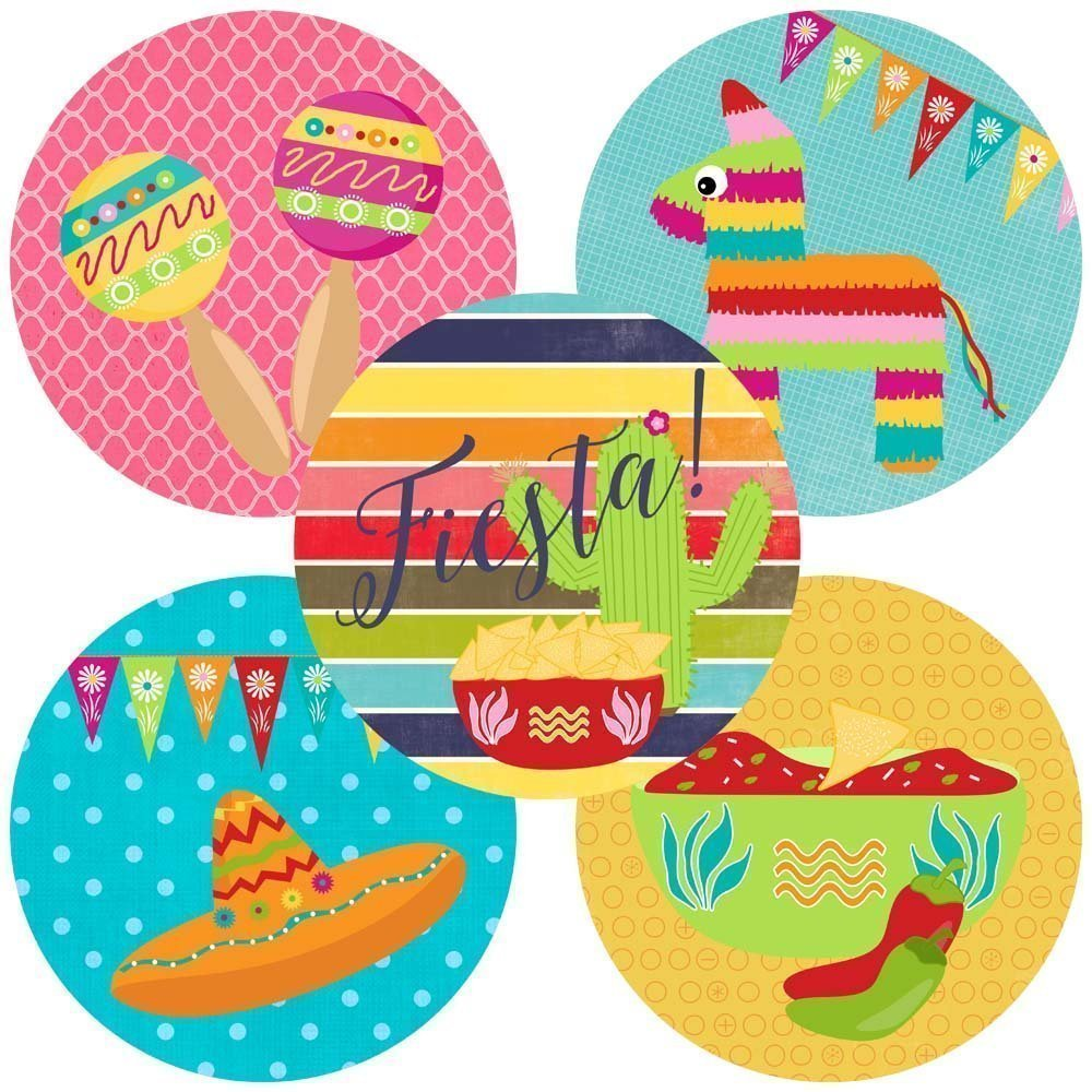 Fiesta Party Sticker Labels - Cinco De Mayo Festival Envelope Seals and Favor Stickers - Set of 50