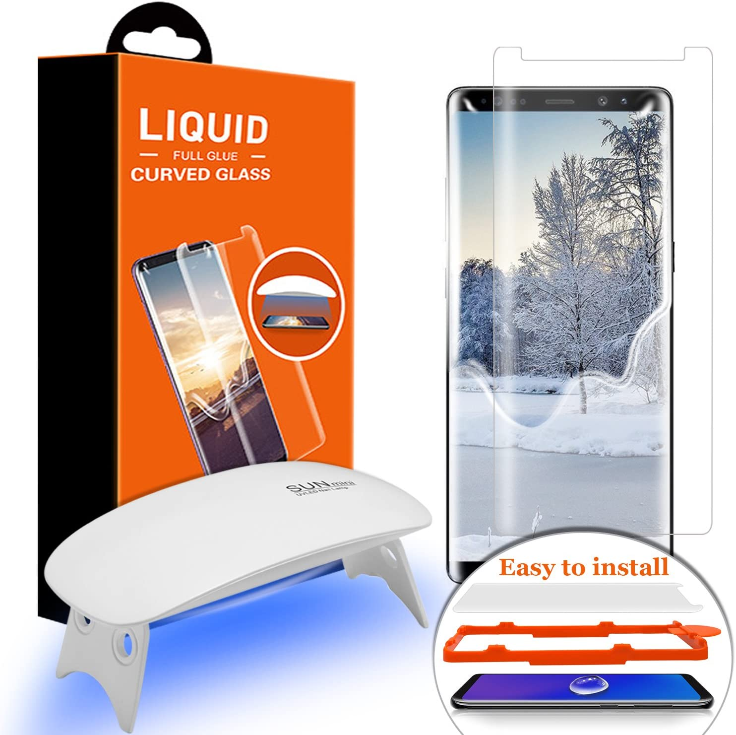 Galaxy Note 8 Screen Protector Tempered Glass, Olesit [Liquid Dispersion Tech] 2.5D Round Edge Tempered Glass Screen Protector with UV Light for Samsung Galaxy Note 8