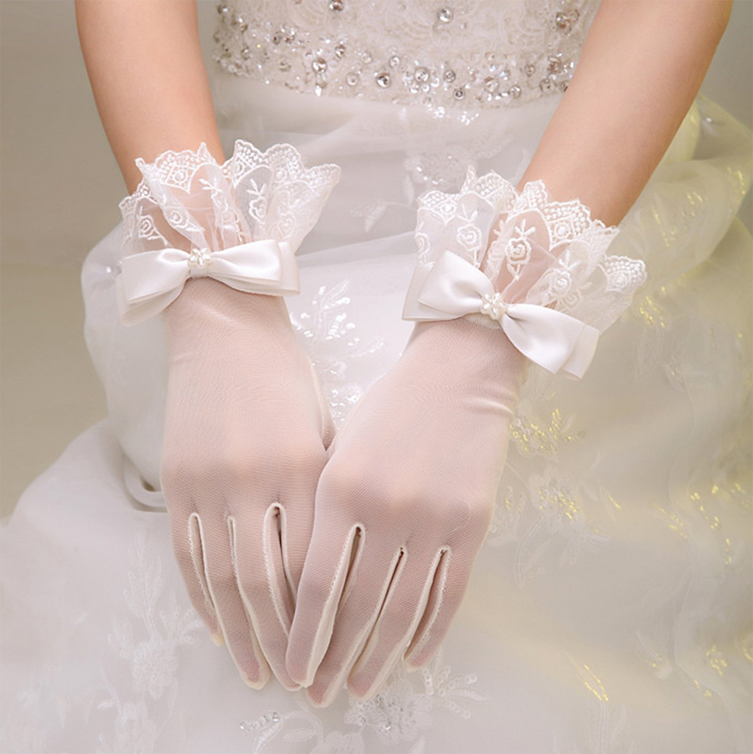 Gauss Kevin Lace Gloves UV Protection Wrist Length Prom Party Driving Wedding Gloves ShaH by Gauss Kevin (Image #2)