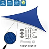 DOEWORKS 10'x10'x10' Right Triangle Sun Shade Sail with Hardware Kits, Shade for Patio Outdoor Garden, Blue