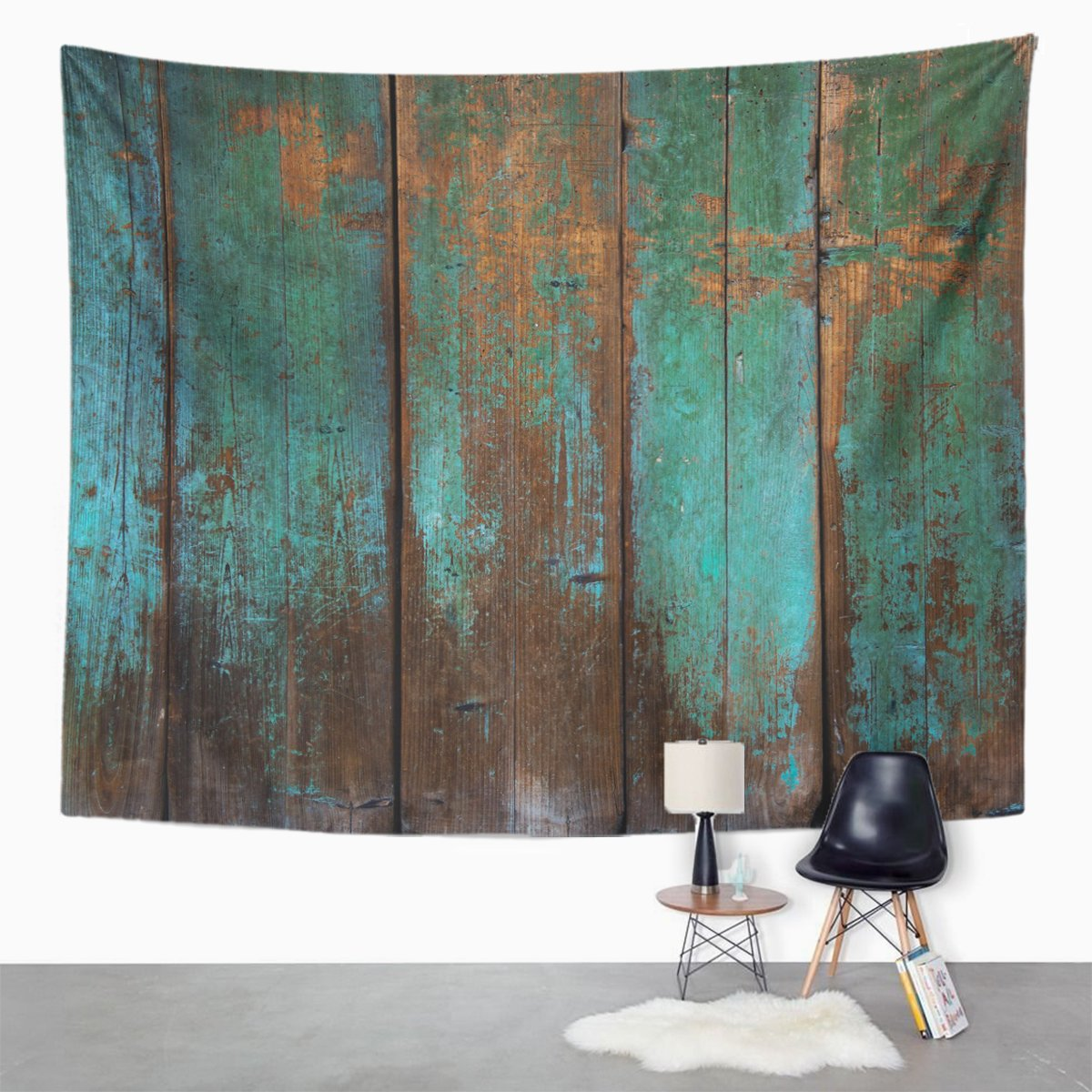 Emvency Tapestry Brown Wooden Old Grunge Wood Panels Used As Green Interior Paint Home Decor Wall Hanging for Living Room Bedroom Dorm 60x80 inches by Emvency (Image #2)