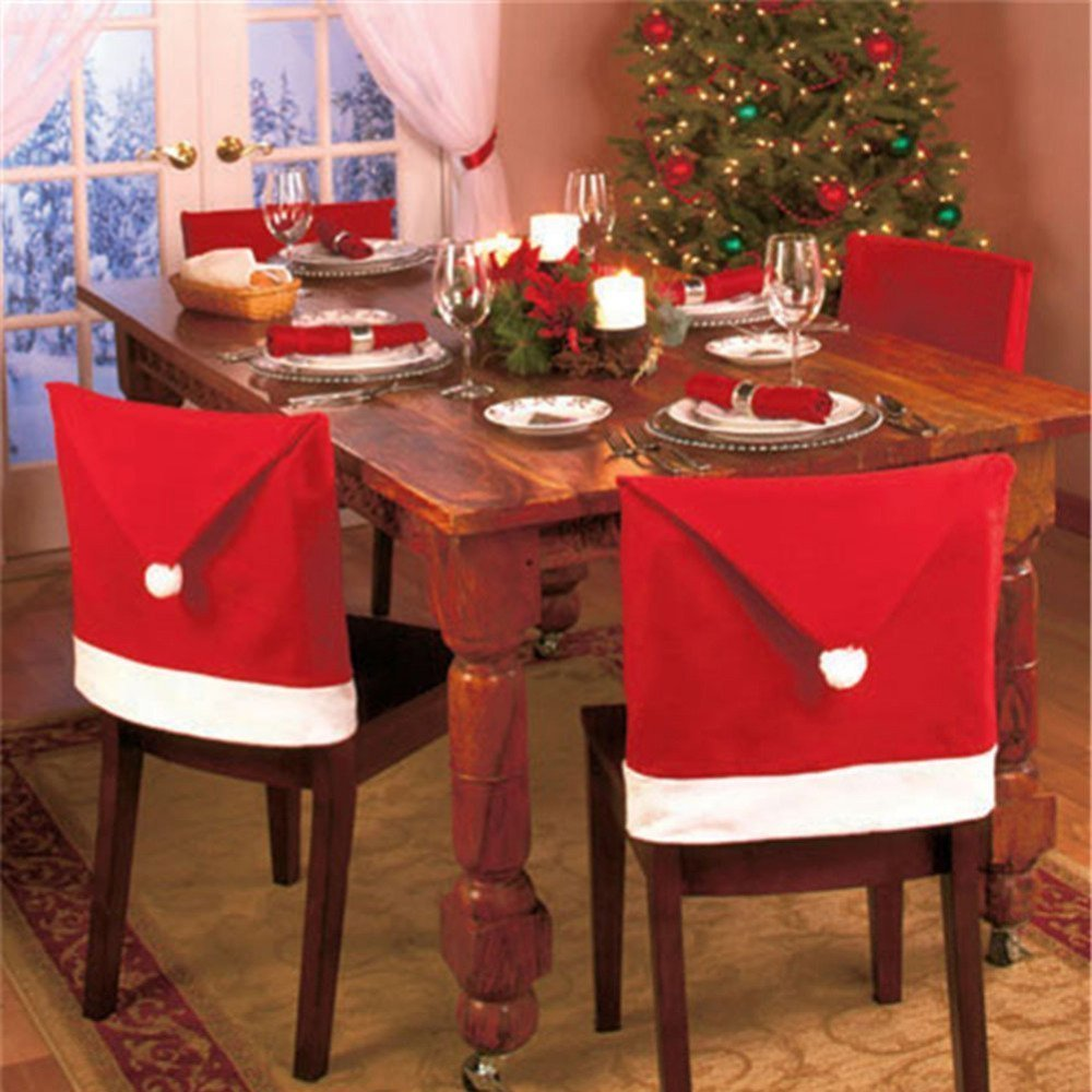 LemonGo Santa Clause Red Hat Chair Back Covers for Christmas Dinner Decoration (4PCS)