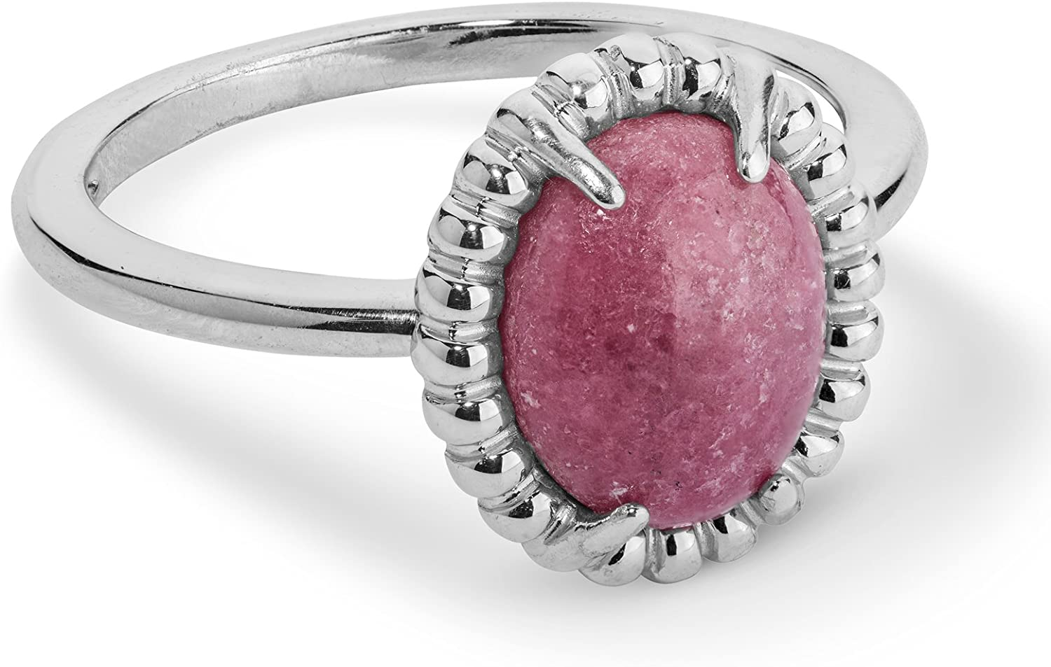 Carolyn Pollack Sterling Silver Blue Lace Agate Pink Rhodonite or White Mother of Pearl Gemstone Oval Ring Size 6 to 10