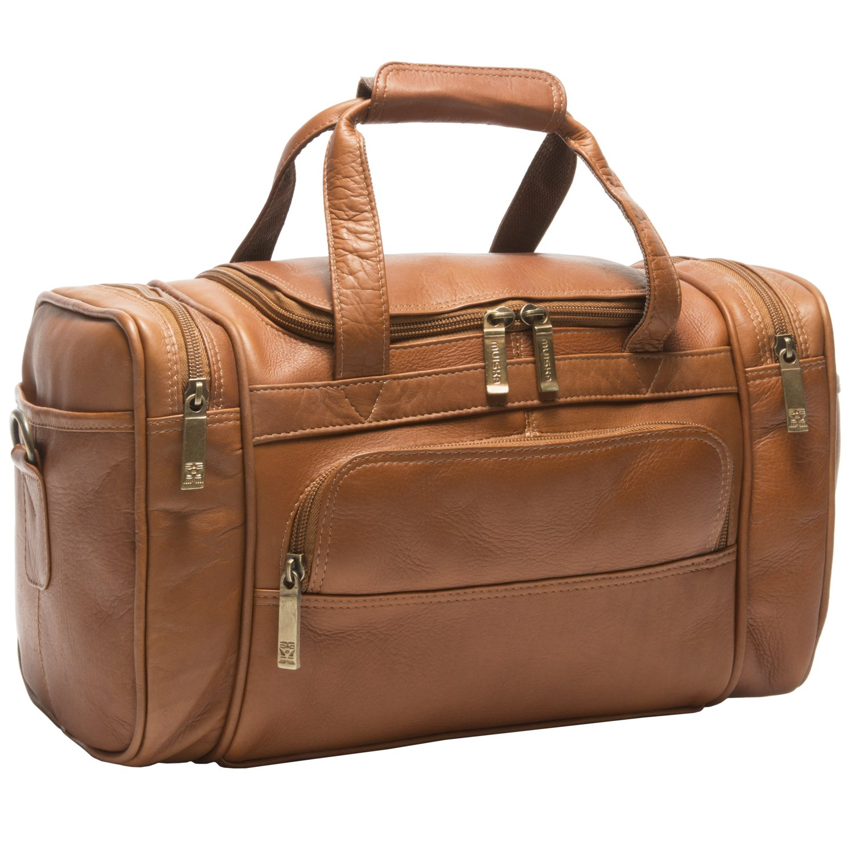 Muiska 14'' Leather Mini Sport Gym Carry On Travel Weekender Duffel Bag, Saddle