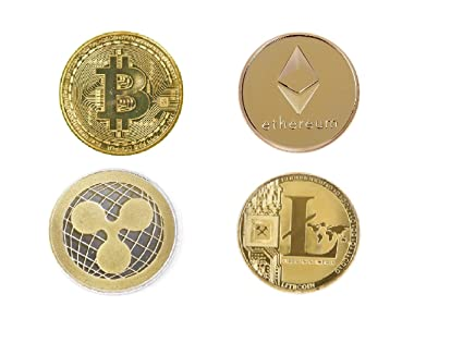 Kriwin Crypto Currency Coins Bitcoin, Litecoin, Ethereum and Ripple Gold  Plated in Transparent Display Case (Golden, 40mm) - Combo of 4
