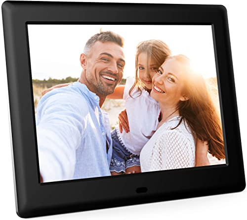 DBPOWER 8 Inch Digital Photo Frame, 1024×768 Resolution IPS Screen Display Picture Frame with Remote Control, Calendar, Time, Music, Video, Slideshow, Supports 32GB USB Drive SD Card