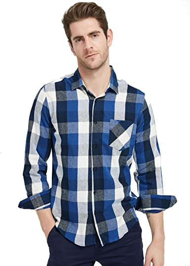 BYWX Men Flannel Flannel Check Casual Long Sleeve Dress Shirts