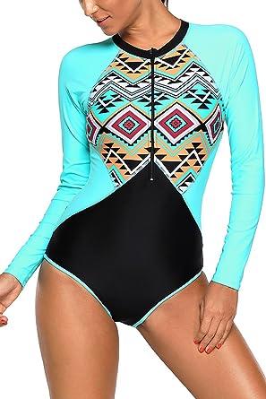 24a212e0c9719 VamJump Women Zip up Aztec Print Rashguard Long Sleeve Crewneck Swimsuit  Blue S