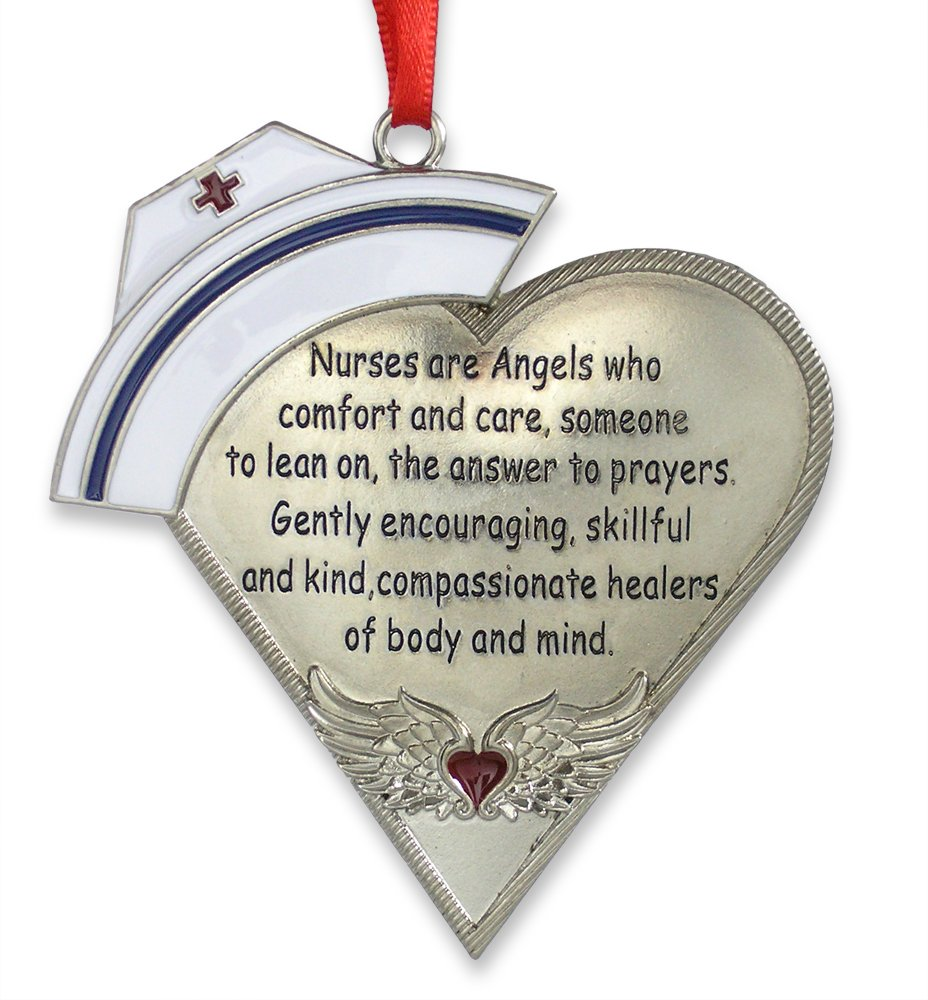 Nurse Heart Shaped Ornament with Message -  Heart with Angel Wings - 4