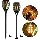 FAISHILAN 2 Pack Solar Torch Light, Waterproof Flickering Flames Light, Dusk to Dawn Outdoor Dancing Flames Spotlights…