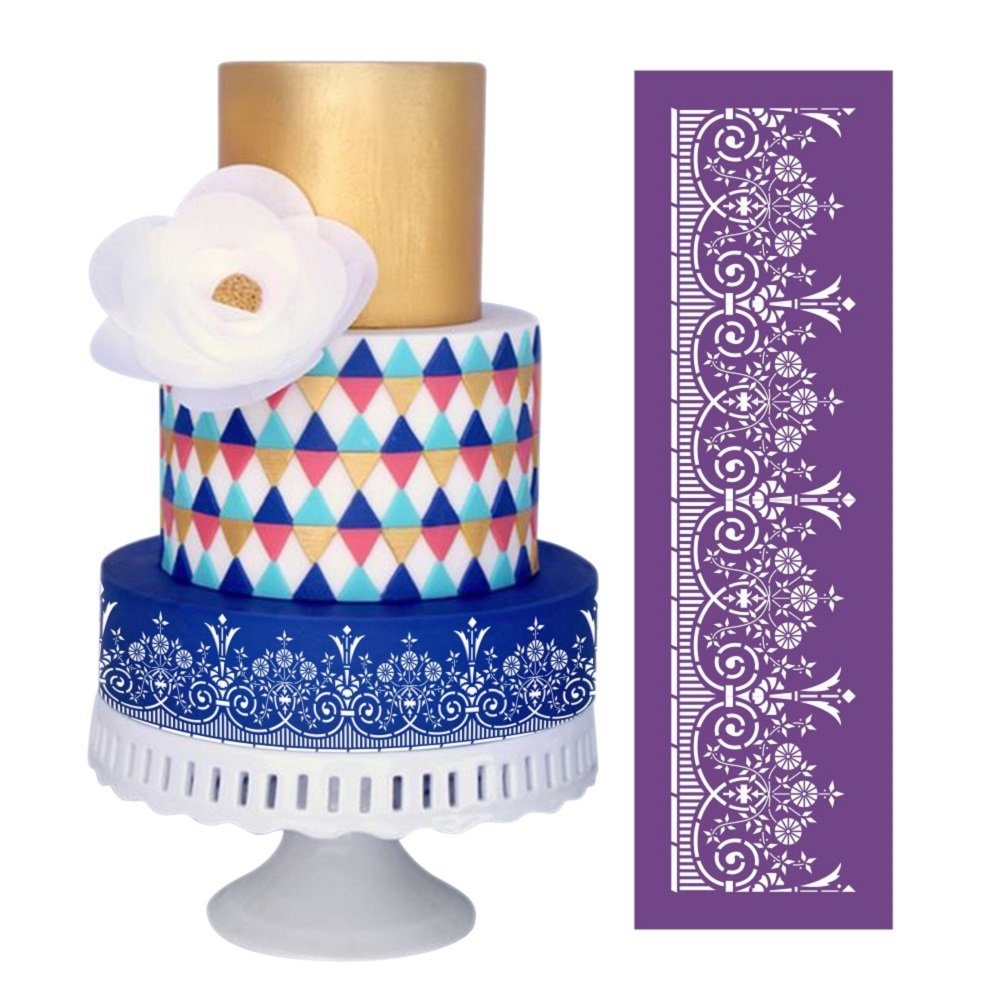 ART Kitchenware 18.3''×5.5''Garden Mesh Stencil Lace Floral Cake Stencil Wedding Cake Side Stencils Template Mold Cake Decorating Bakery Tool MST-16 Purple Color