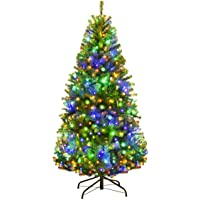 Goplus 4FT Pre-Lit Artificial Christmas Tree Auto-Spread/Close up Branches 11 Flash Modes with Multicolored LED Lights…