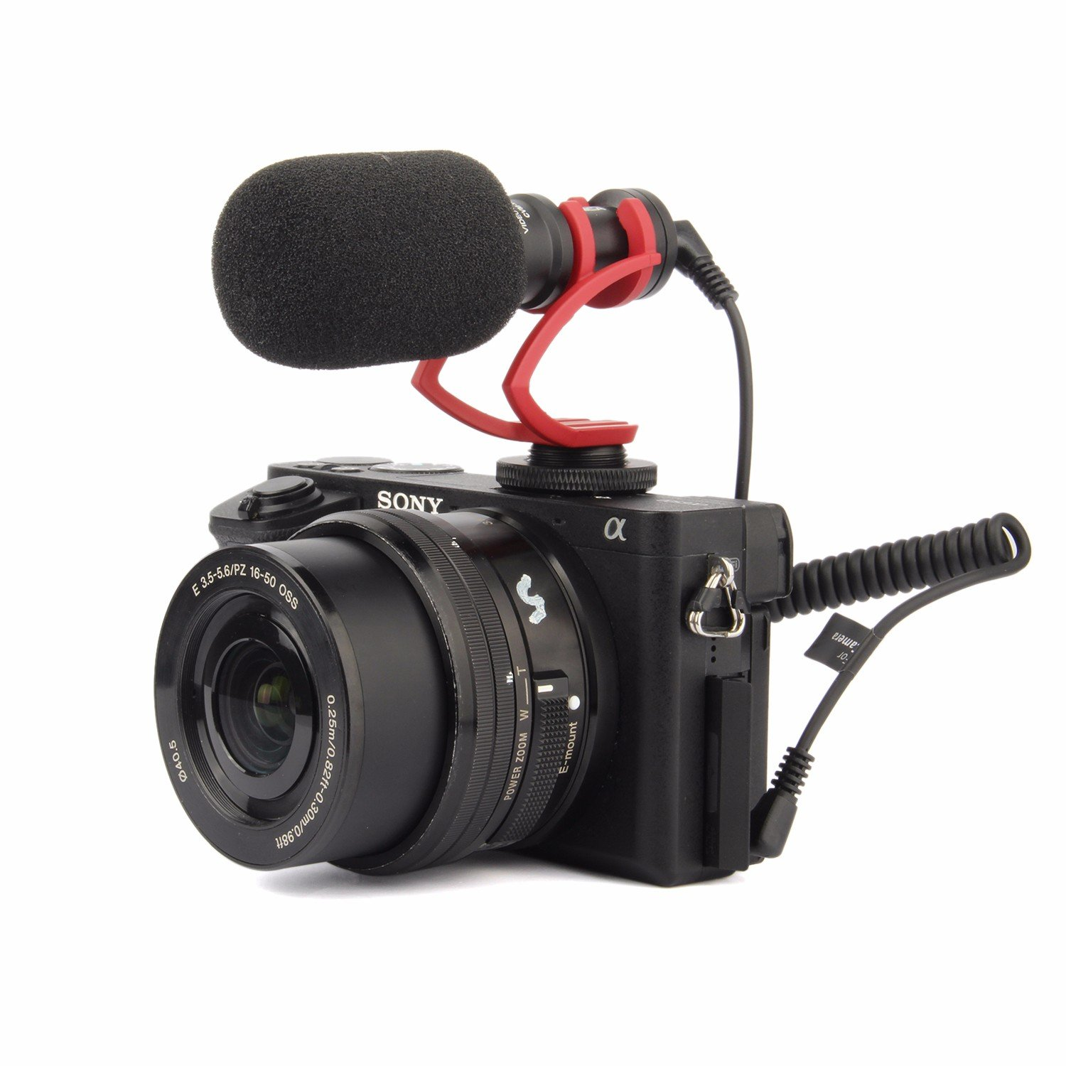 EACHSHOT Comica CVM-VM10 II Cardioid Directional Shotgun Video Microphone for DJI OSMO Smartphone GoPro and Micro Camera with Black Shock-Mount Windscreen Wind Muff and Carrying Case (Red)