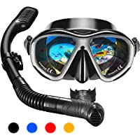 OMORC Anti-Fog Impact Resistant Panoramic Tempered Glass Snorkel Set