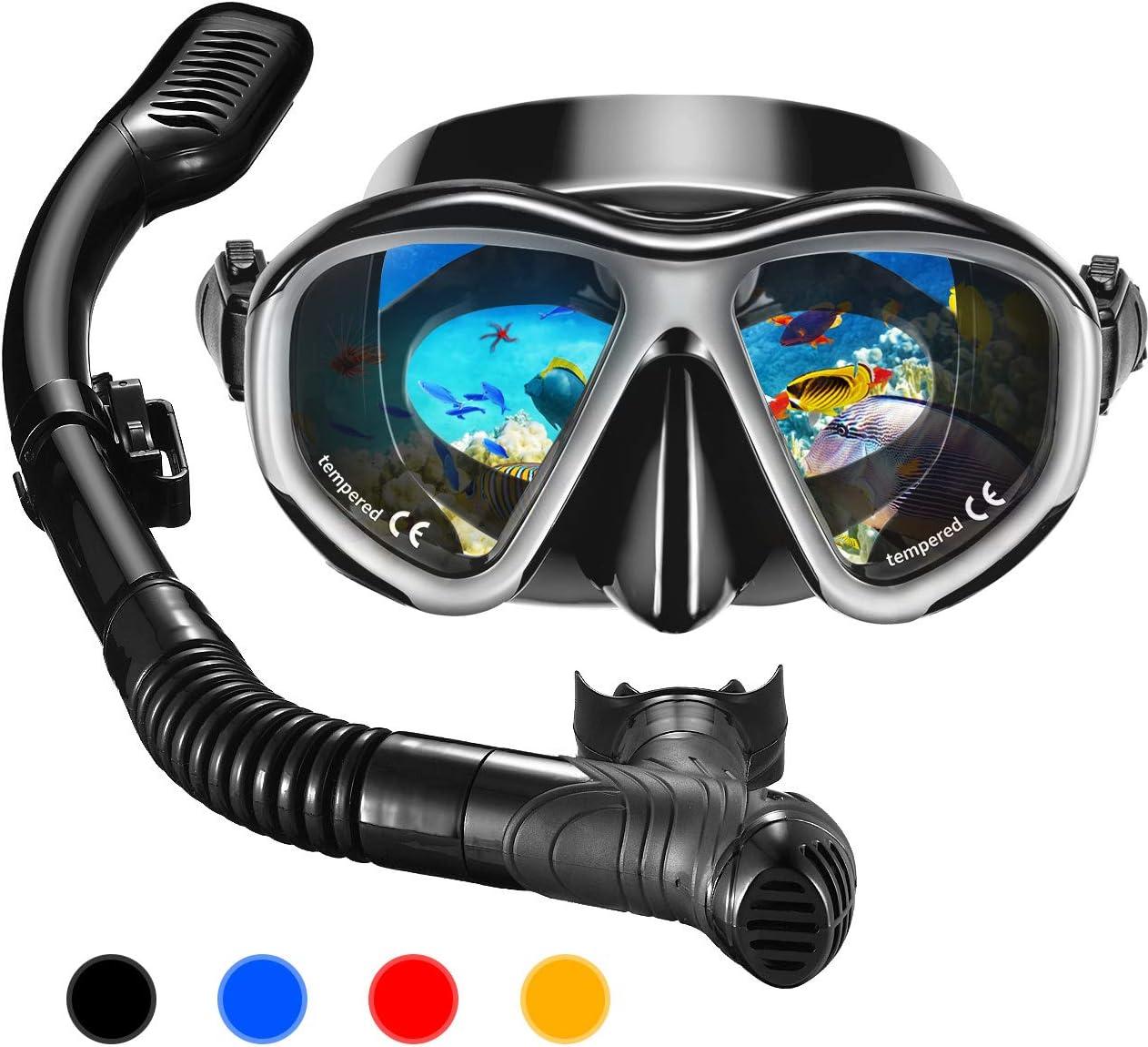 OMORC Gafas y Tubo de Buceo, Top Set de Snorkel con Templado ...