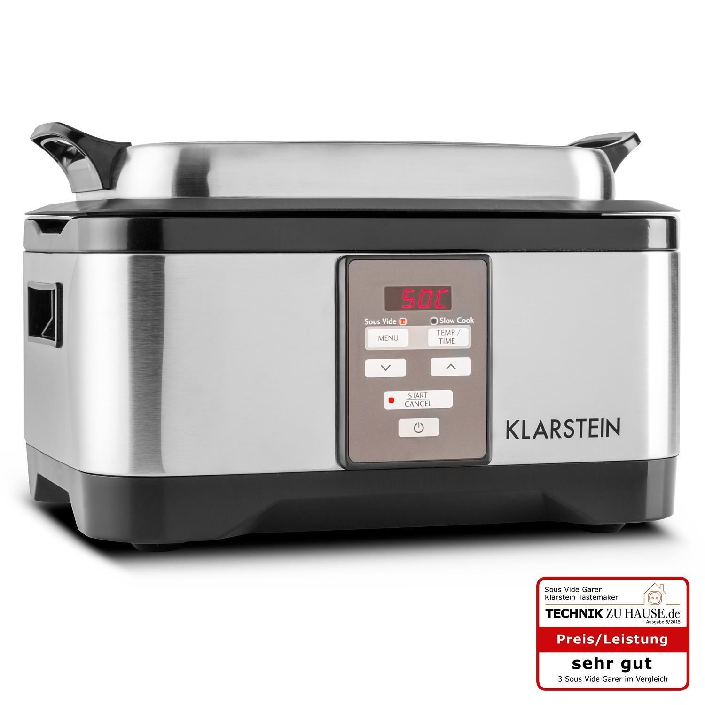 Klarstein Tastemaker fornello sotto-vuoto 550 watt intervallo di temperatura 40-90°C tempo di cottura: 1-24h Coperchio in vetro Funzionamento touch acciaio inox coperchio argento