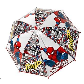 Paraguas antiviento burbuja transparente Spiderman Marvel Thwip apertura seguridad 42cm