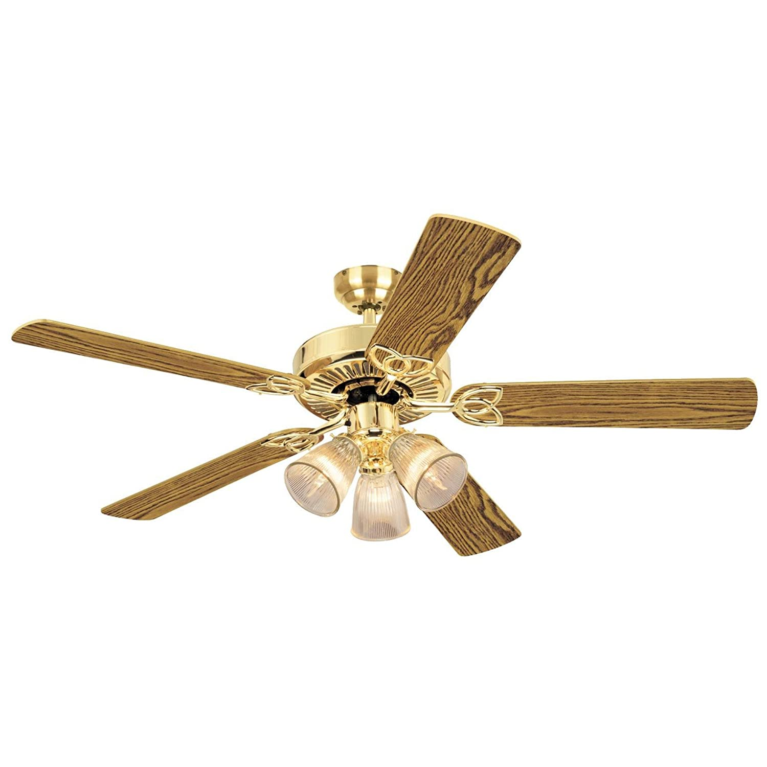 Com 7804365 Vintage Three Light 52 Inch Reversible Five Blade Indoor Ceiling Fan Polished Brass With Clear Ribbed Glass Shades Home Improvement
