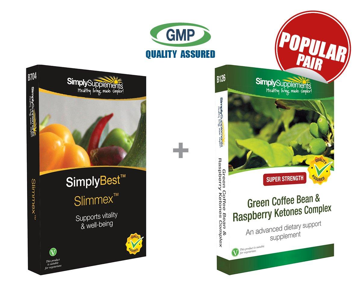 SimplySupplements Slimmex 60 Capsules + Green Coffee Bean & Raspberry Ketones Complex 60 Capsules | Slimming pack by SimplySupplements