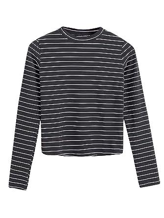 9ab3fafa71 Amazon.com: SheIn Women's Fall Round Neck Long Sleeve Striped T-Shirt:  Clothing