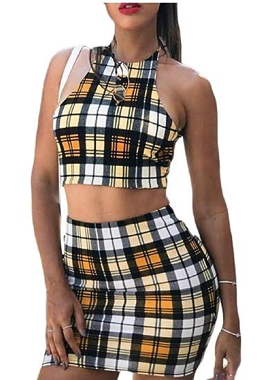 137a98d69 Women 2 Piece Outfits Sleeveless Crop Top Blouse Short Skirt Sexy Casual Set