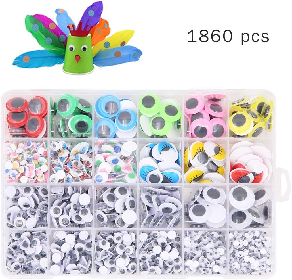 Verschiedene Gr/ö/ßen geluode 1860 St/ücke Kunststoff Selbstklebend Puppe Augen Wiggle Glubschaugen Wackelaugen f/ür DIY Scrapbooking Handwerk Spielzeug Zubeh/ör