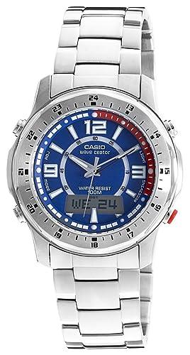 CASIO Funkuhr WVA-220DE-2AVER - Reloj digital de cuarzo con correa de acero inoxidable para hombre, color plateado: Amazon.es: Relojes