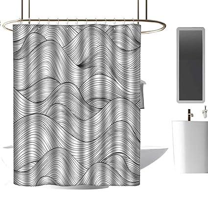 Hinxinv Dark GreyShower Curtains For Bathroom Teal ColorAbstract Geometric Waves Ocean Sea
