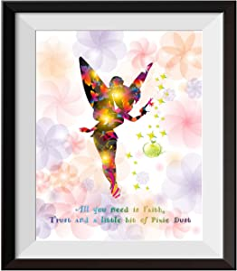 Uhomate Princesss Tinkerbell Peter Pan Never Grow Up Home Canvas Prints Wall Art Inspirational Quotes Wall Decor Living Room Bedroom Bathroom Artwork C015 (11X14)