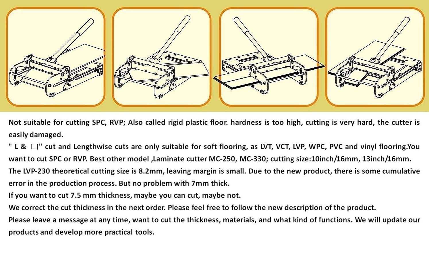 9-inch Vinyl flooring Cutter LVP-230; 9inch cutting width and 7 mm thick! best buy for cutting vinyl flooring! by MANTISTOL (Image #7)