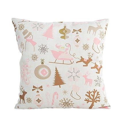 Amazon.com: Gotd Navidad 18 x 18 Fundas de Almohada Rosa ...