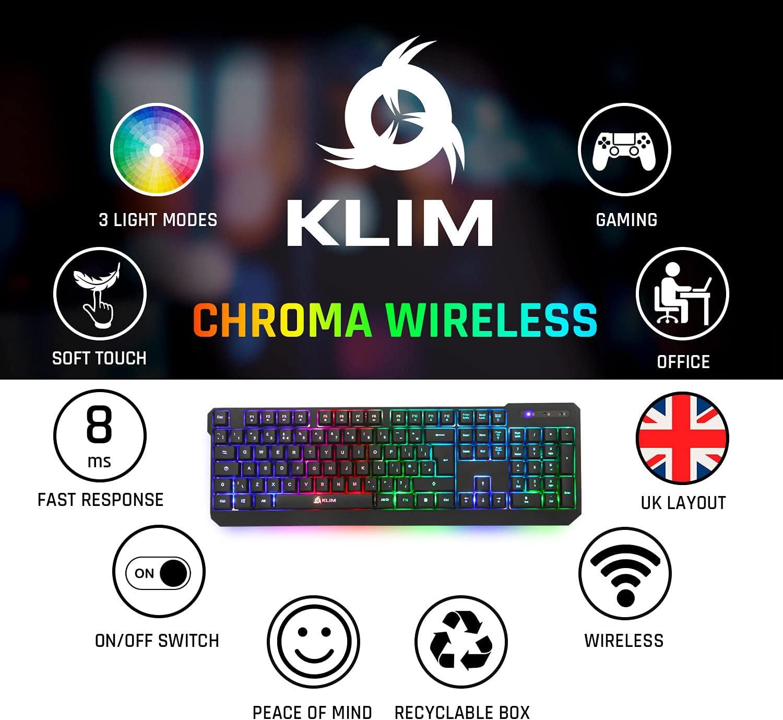 KLIM™ Chroma Teclado Inalámbrico Gaming en English Wireless ...