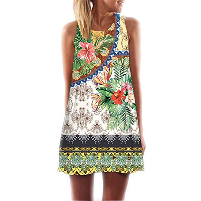 3f07e288b Image Unavailable. Image not available for. Color  Summer Short Dress  Floral Print Casual Woman Chiffon Dresses Boho ...