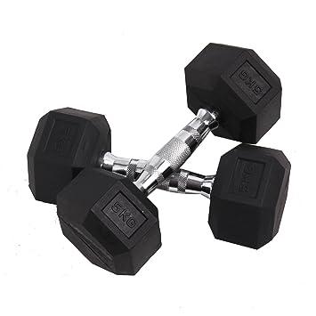 Set de 6 pares de mancuernas hexagonales de goma hexagonal pesas gimnasio Fitness pesos fuerza, negro: Amazon.es: Deportes y aire libre