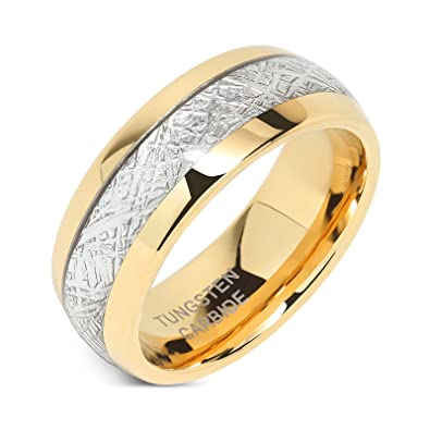 8mm Mens Tungsten Carbide Ring Imitated Meteorite Inlay 14k Gold Plated Jewelry Wedding Band Size 5