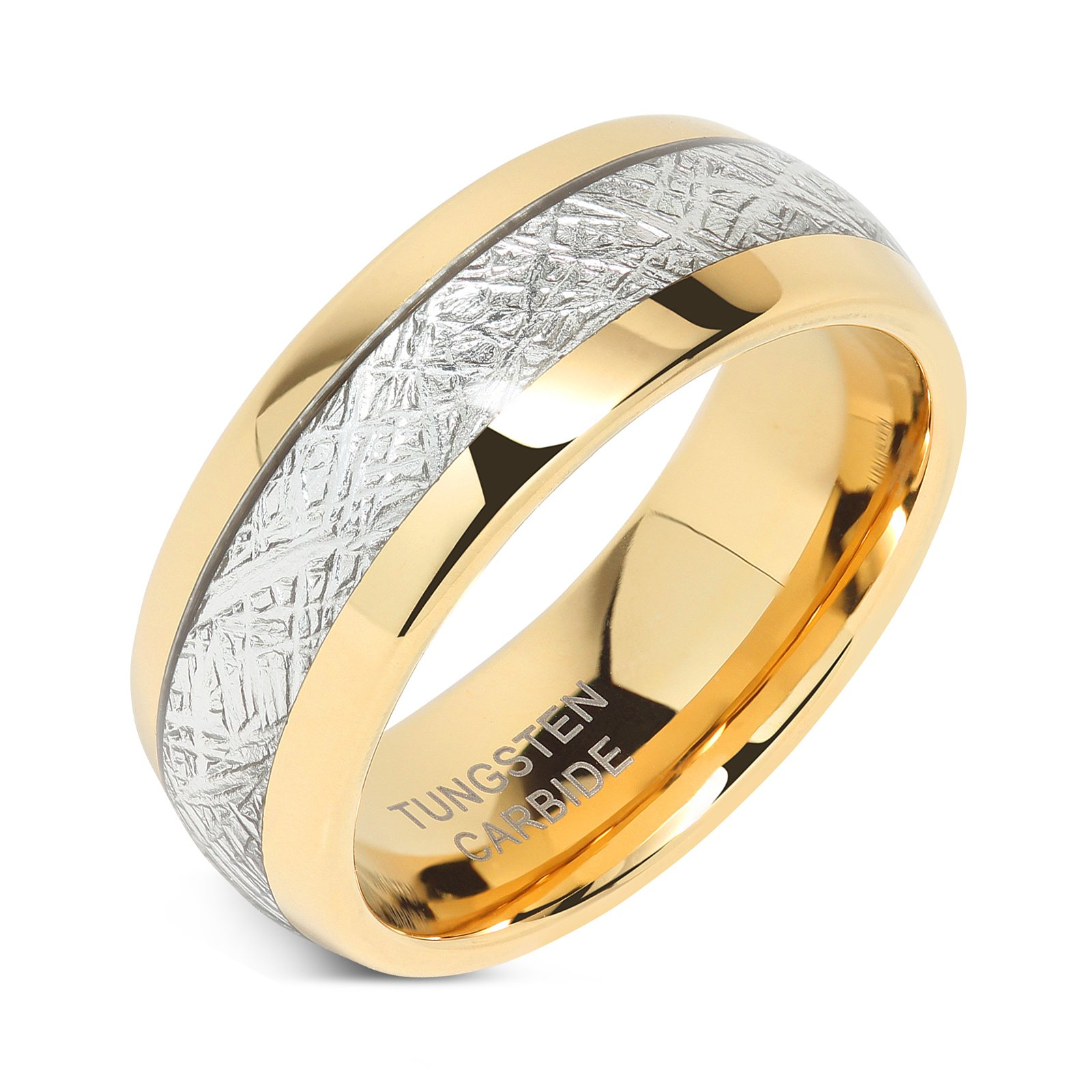 100S JEWELRY 8mm Mens Tungsten Carbide Ring Imitated Meteorite Inlay 14k Gold Plated Jewelry Wedding Band Size 5-16 (10.5)