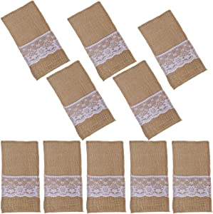 Arlai Pack of 10 Natural Burlap Utensil Holders Knifes Forks Bag Cutlery Pouch 4 x 8 Inch Vintage Wedding Decor, DIY Decorate your dining table quaint and country
