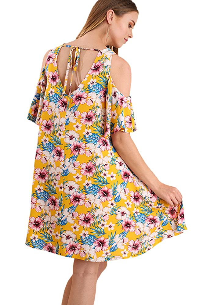 Umgee Phenomenal Floral Cold Shoulder Swing Dress Or Tunic