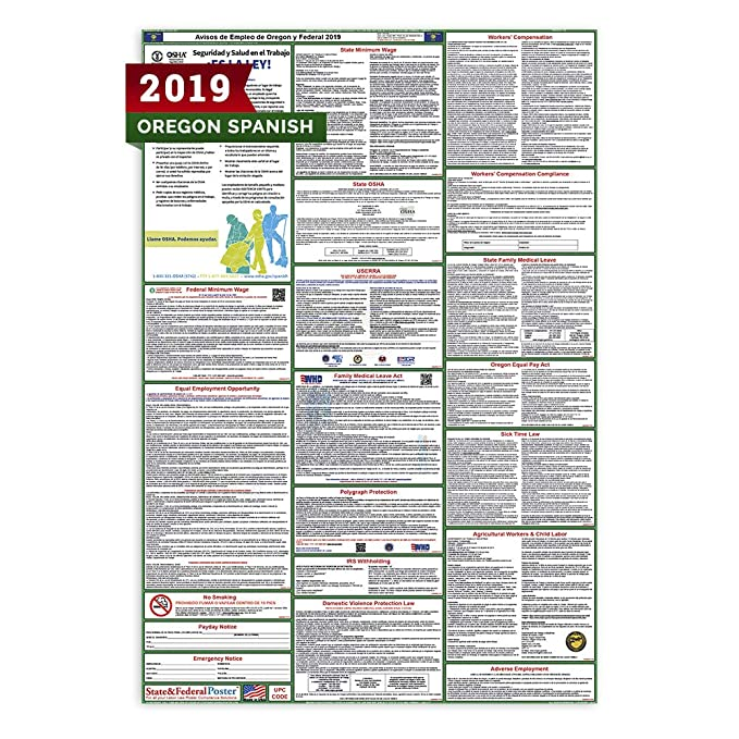 Amazon.com : (Spanish) 2019 Oregon All-in-One Labor Law Posters (Laminated) OSHA Compliant 27 x 40 inch [OR2-27X40-SP] : Office Products