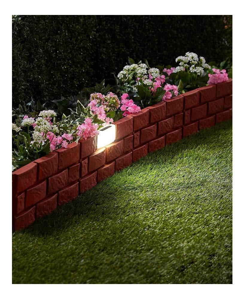 Terra Cotta Solar Lighted Brick Look Garden Border Flowerbed Border Landscape Edging Yard na