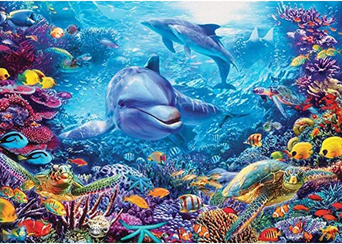 12x16inch//30x40cm Fish Under The Sea DIY 5D Diamond Painting Kits for Adults Kids Full Drill Round Gem Beads Art Painting for Home Wall Decor
