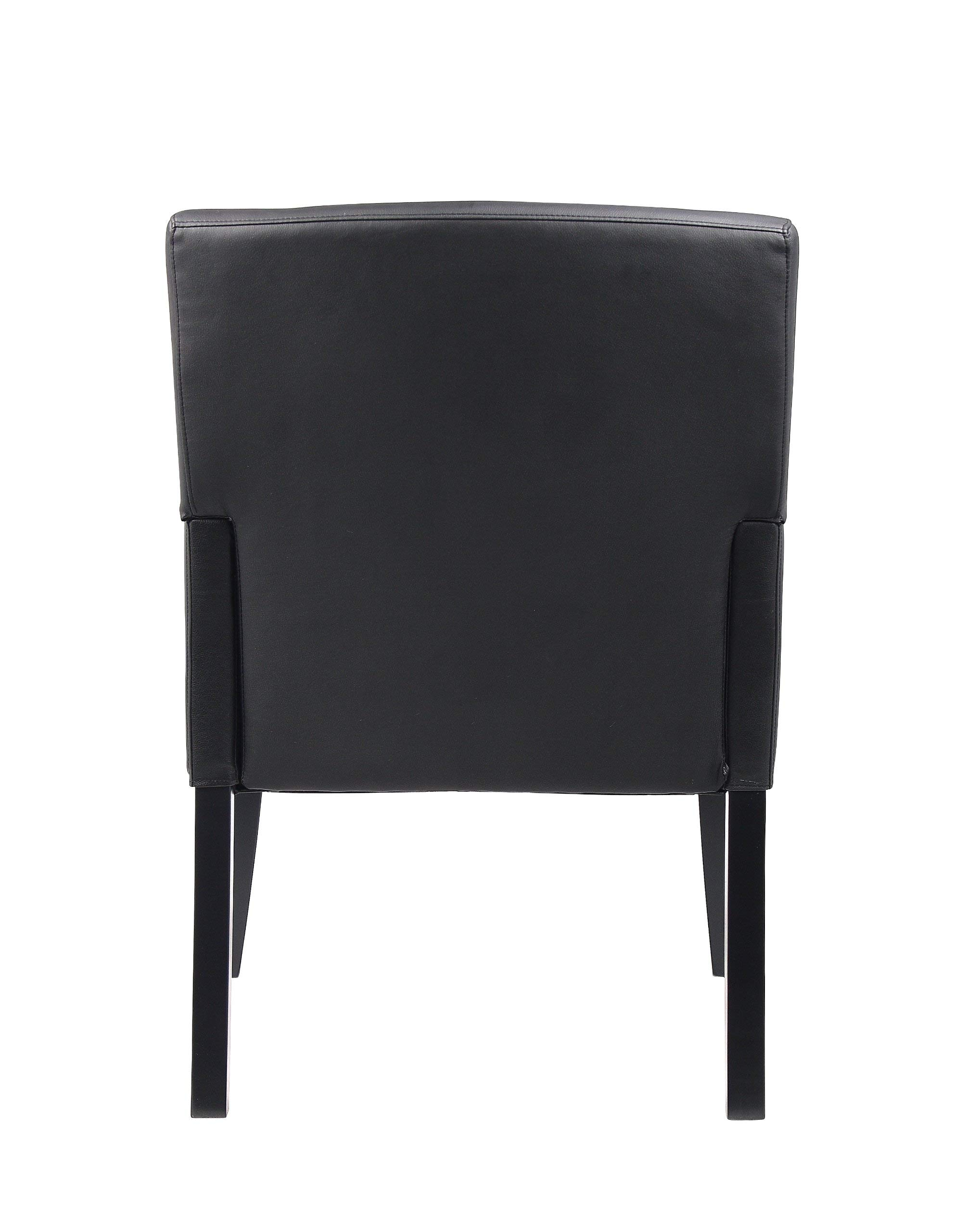 Boss Office Products B639-BK Executive Box Arm Chair with Mahogany Finish in Black by Boss Office Products (Image #4)