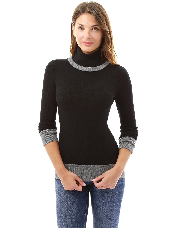PattyBoutik Mujer Bloque de Cuello Alto suéter de Color (Negro y ...