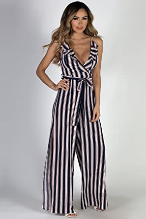 3ea6cdc8fc2 Amazon.com  Babe Society Women s Navy Striped Halter Top Jumpsuit ...
